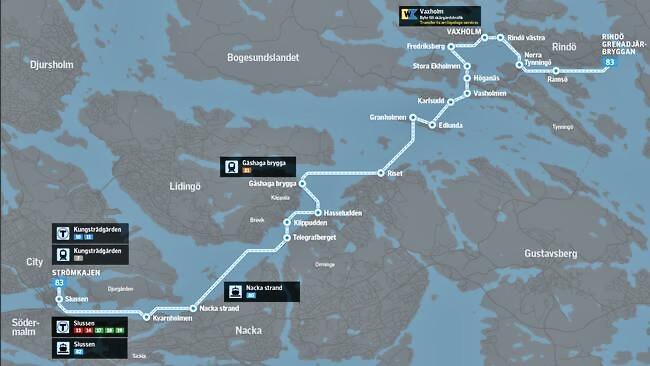 Vår premiärtur gick från Strömkajen i Stockholm och till Vaxholm. Många stopp på vägen och man kan fortsätta till Tynningö, Ramsö och ett par ställen på Rindö.