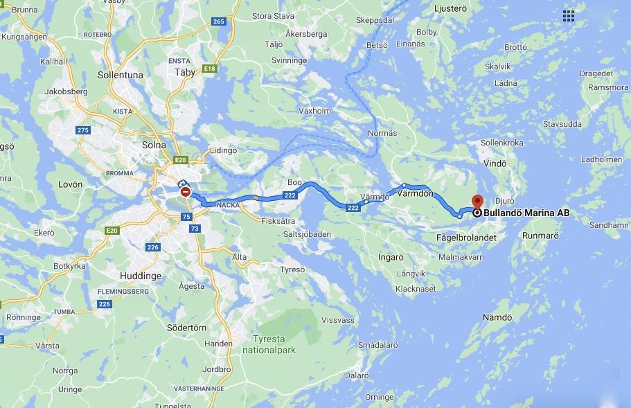 Karta. Resväg från Stockholm till östra Värmdö och Bullandö Marina och krog.