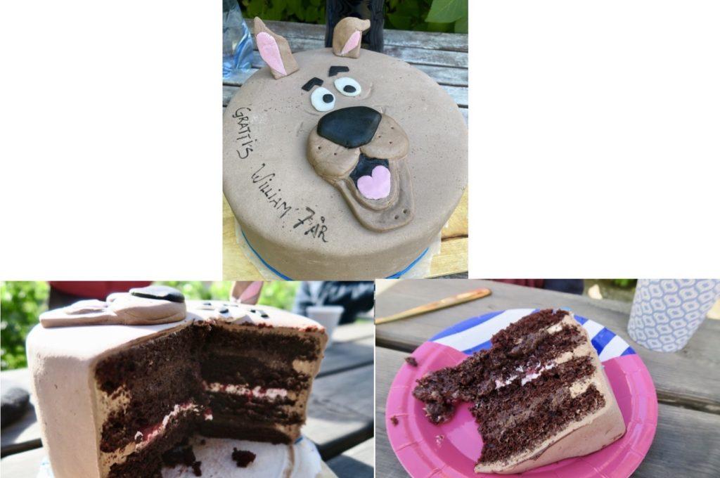 Vi firade med en fantastisk Scooby Doo tårta. Lätta chokladbottnar, två lager chokladmousse och två lager hallonmousse. Och med ett lock av marsipan som färgats med kakao.