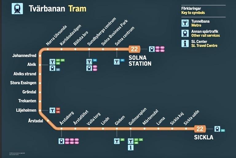 Tvärbanans hela sträckning. Jag ska åka 16 hållplatser; från Gullmarsplan till Sundbygerg