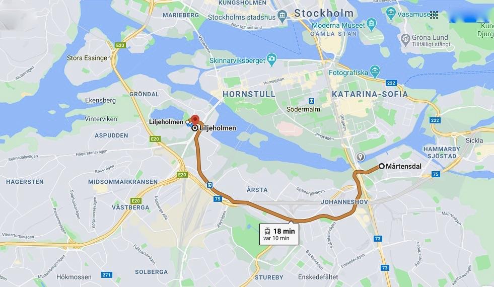Start hemma på Södermalm. Promenad till Mårtensdal och sedan tvärbanan till Liljeholmen. Och alldeles nära stationen ligger sjön Trekanten.