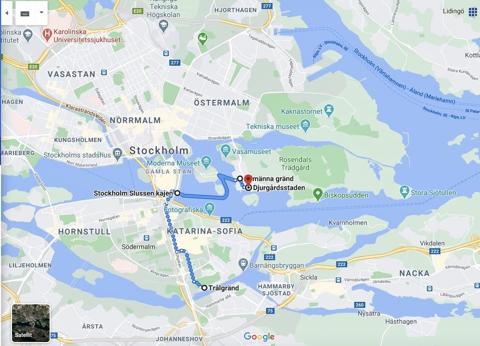 Dagens runda är ca 4 km. Start på södra Södermalm och målet är Djurgårdsstaden.