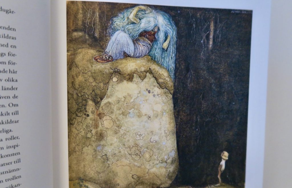 """John Bauer 1912 Bild från boken. """" Vad vill du här i min skog? Ropade hon, då Nisse kom gående."""