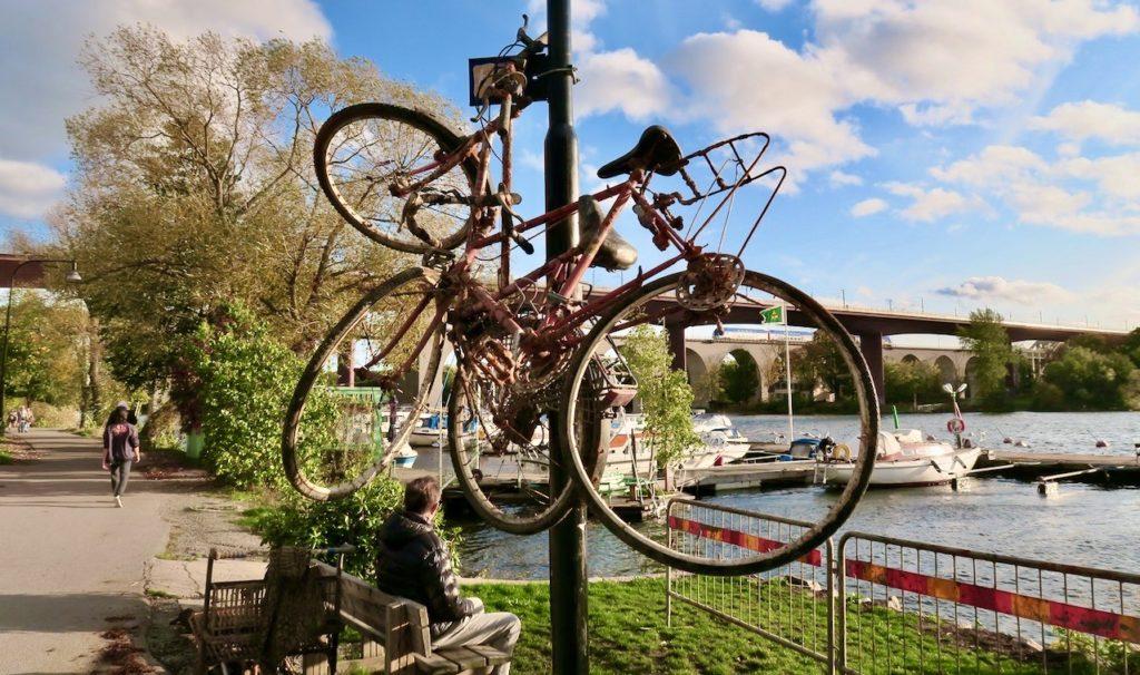 Stockholm. Södermalm. Årstaviken/Mälaren. Här har projekt rädda Mälaren tagit upp cyklar från vattnet och hängt dem på höjden.