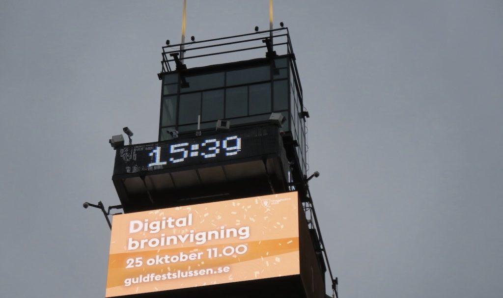 """Digital invigning av """"guldbbron"""" den nya Slussbron var den den 25/10- 2020."""