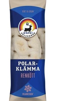 En ätbar klämma. En polarklämma. Mjukt tunnbröd som är fyllt med ett par skivor tunt renkött.