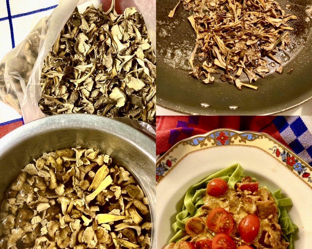 Tillagning av middag hemma i köket. En pastasås bestående av tratkantareller, pancetta, kryddor, tomater och grädde.