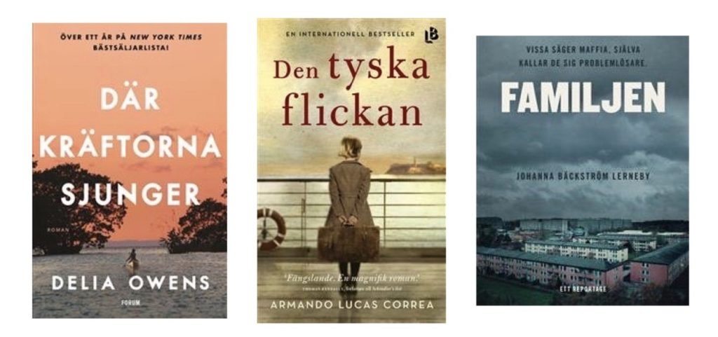 """Några böcker jag fastnat för i höst. Tyccker om omväxling även när jag läser. """"Där kräftorna sjunger"""", """"Den tyska flickan"""" och """"Familjen"""" fångades jag av på olika sätt."""