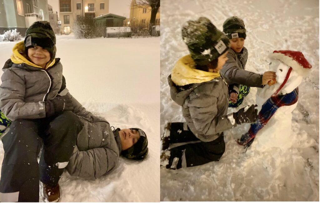 Uppsala. Snö även där- Och den inbjöd till lek och utevistelse. Barnbarnen trivs.