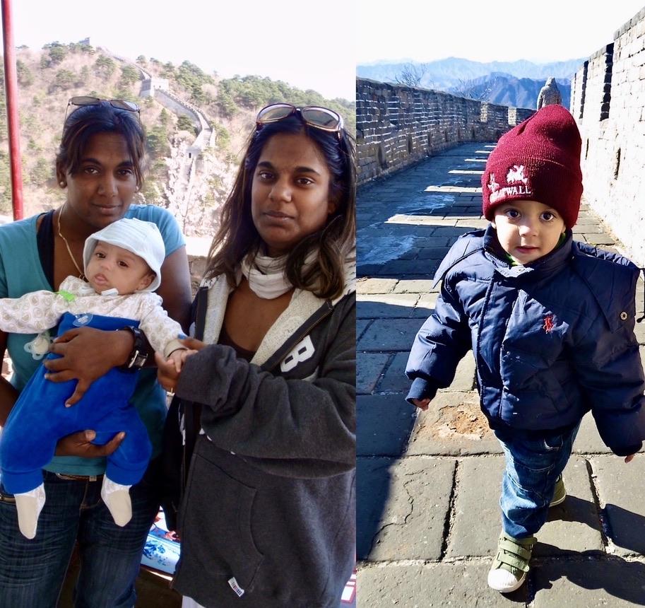 Kinesiska muren. Barnbarnet Max gjorde sin första resa till KIna och Peking som tre månaders baby. Och det kom att bli fler resor hit under årens lopp.
