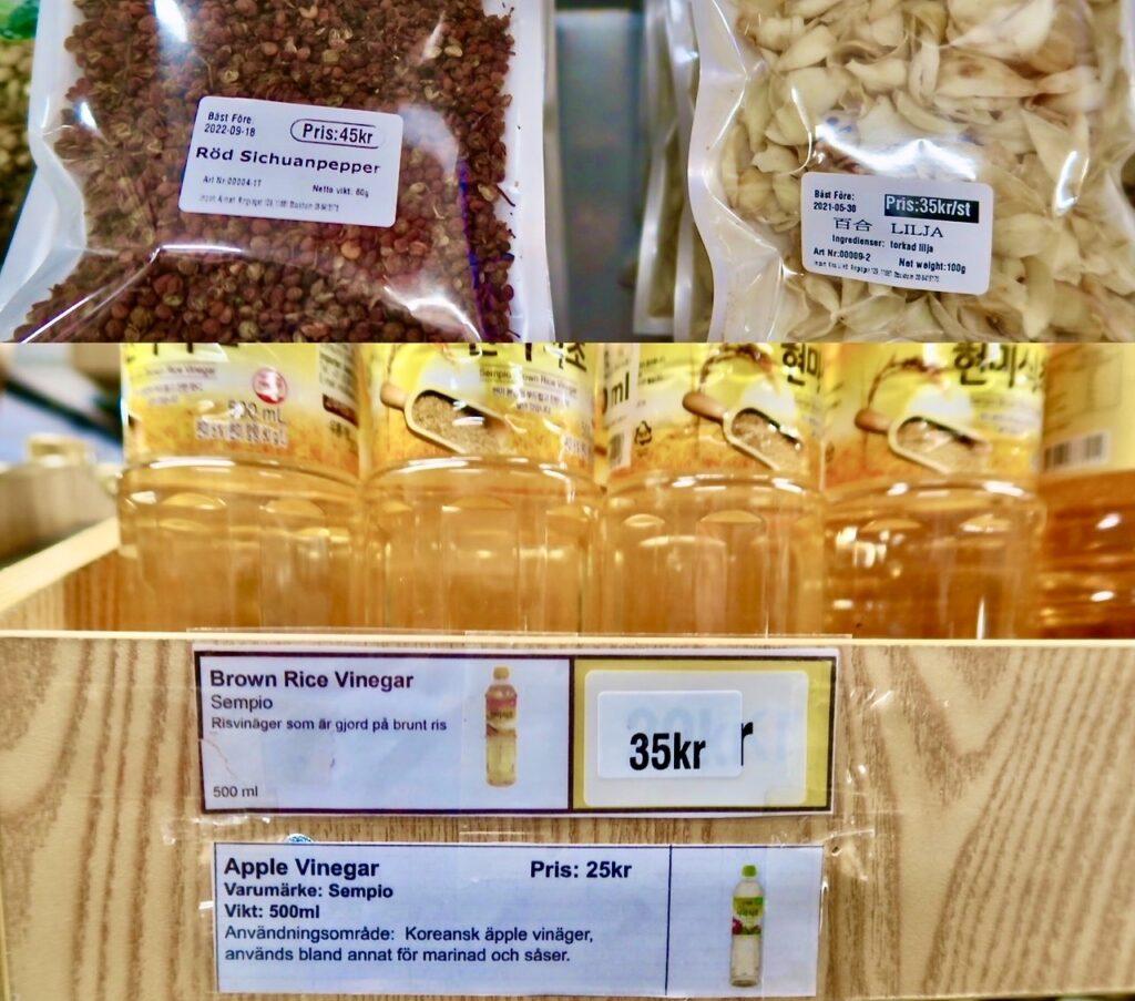Typiska kinesiska smaker finns i både sichuanpepparen och risvinägern. Båda finns i butiken Kina Li på Söder i Stockholm.
