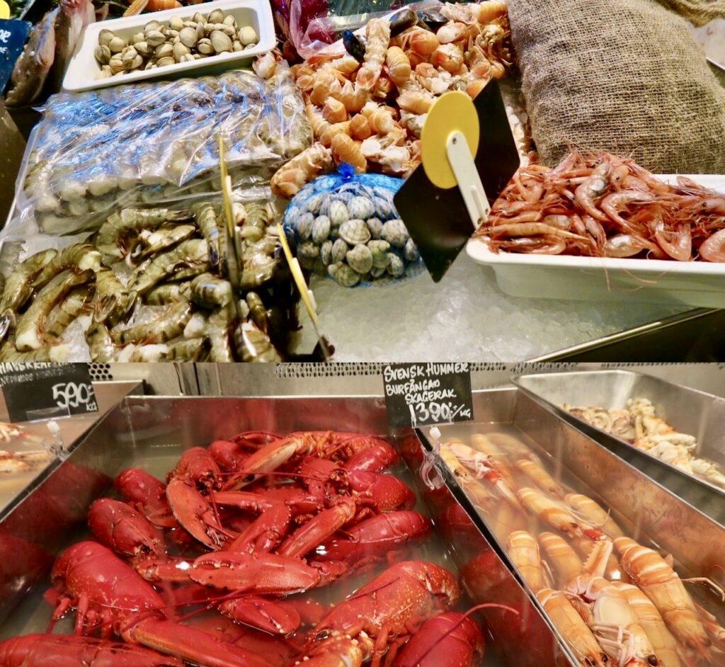 Stockholm. Östermalms Saluhall. Hos Lisa Elmqvist finns mycket ab det bästa vad gäller fisk och skaldjur.