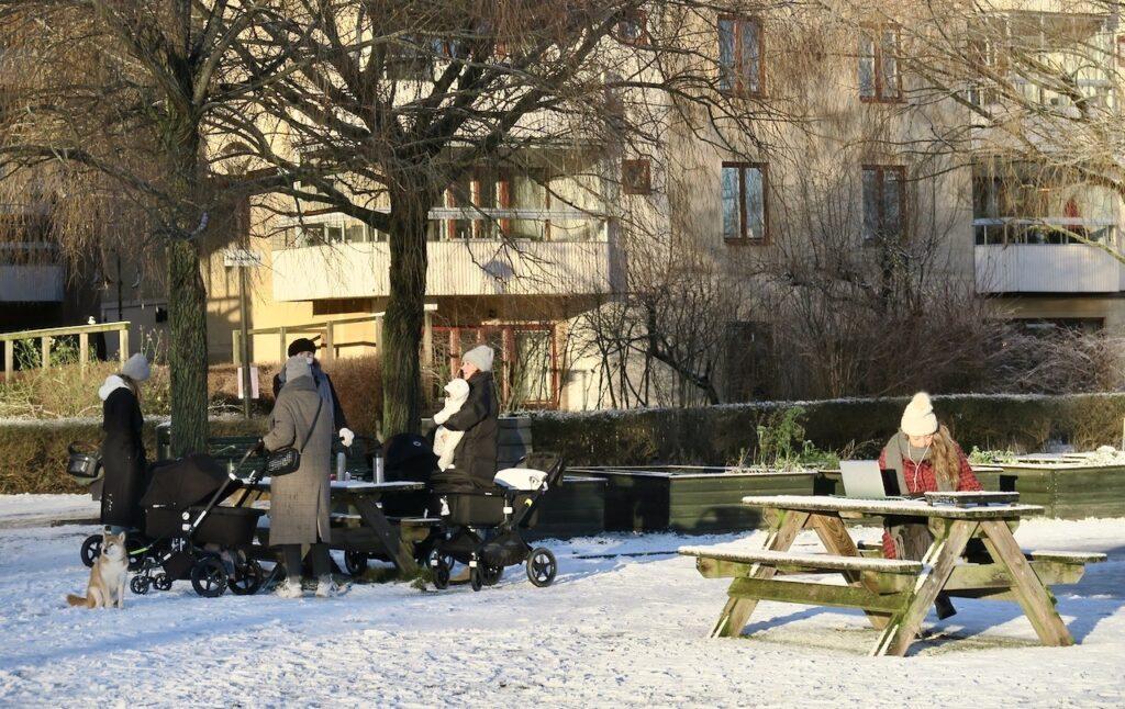 Stockholm. Södermalm.Norra Hammarbyhamnen. Utedag i Anna Lindhs park .