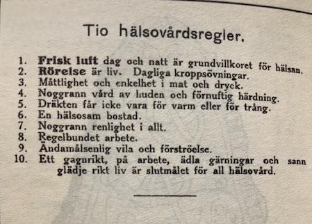 10 hälsovårdsregler från början av 1900-talet. Ett fynd i fyndboken.