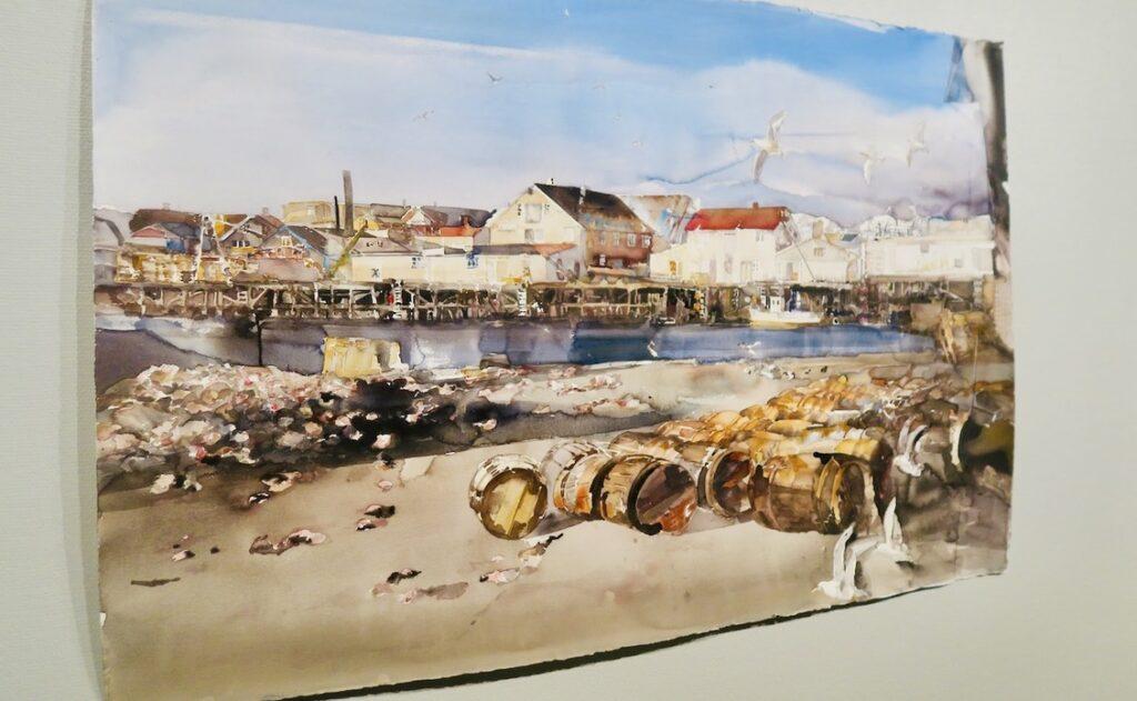 Lars Lerin. Ålands konstmuseum i Mariehamn. I bilden med motiv från Lofoten kan jag genom tavlan lukta mig till hav, fisk, sjöfåglar och lite regn i luften.