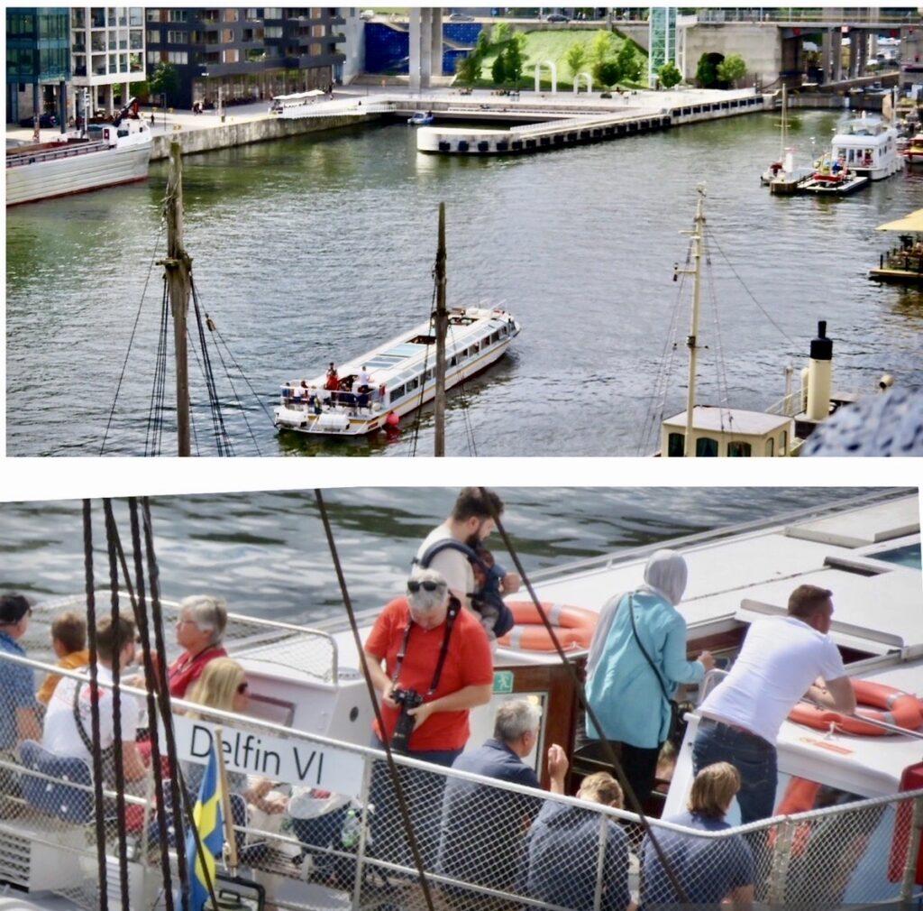 Södermalm. Stockholm. Hammarbykanalen. God underhållning tycker turisterna det är att se Stockholm från vattnet