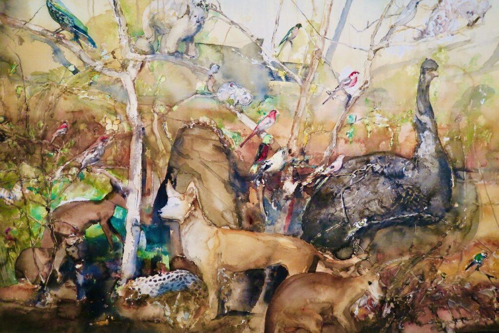 Mariehamn. Ålands konsthall. En av Lars Lerins akvareller som jag inte sett tidigare. Här samsas många av skogens djur.