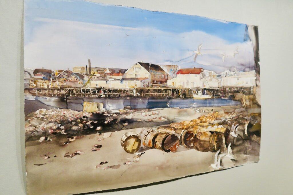 Lofoten är ett kärt motiv i Lars Lerins akvareller. Utställning i Ålands konstmuseum i Mariehamn.