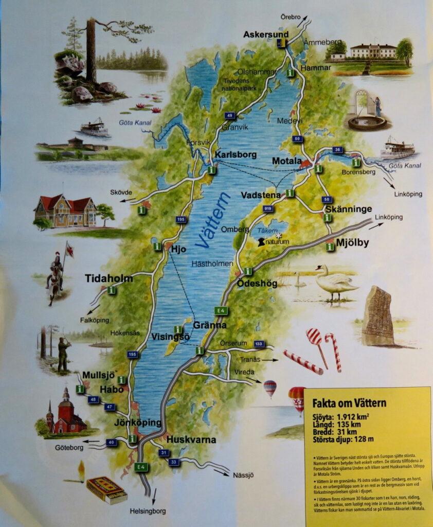 Karta över Vättern och med platser runt om.